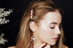 Asteria earrings worn with Artemis Swarovski star and pearl comb