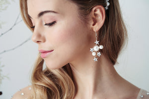 Asteria Silver Swarovski Crystal star and pearl cluster earrings