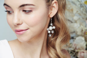 Debbie Carlisle Silver Swarovski Crystal star and moon bridal earrings