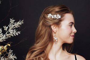 Set of three Swarovski Crystal star and pearl cluster bridal hairpins and earrings set