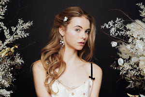 Single Astra Swarovski Crystal star and moon hair pin and Asteria bridal earrings