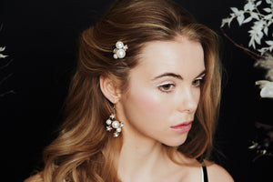 Celestial Swarovski Crystal star and moon bridal hairpins with matching wedding earrings