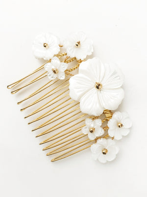 Gold Beth mother of pearl flower wedding comb