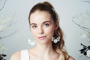 Mother of pearl flower bridal earrings by Debbie Carlisle
