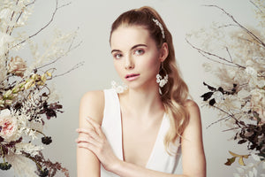 Mother of Pearl Flower statement bridal earrings Beth