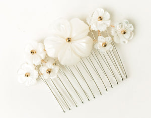 Beth rose gold mother of pearl flower hair comb