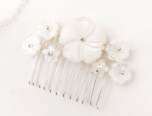 Silver Beth mother of pearl flower bridal comb