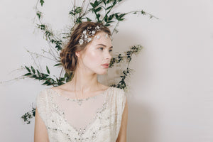 Silver floral crystal and pearl wedding browband