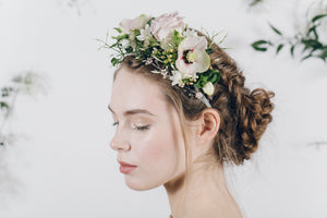 antique pink mother of pearl headband with half flower crown