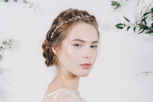 blush crystal and mother of pearl wedding headband