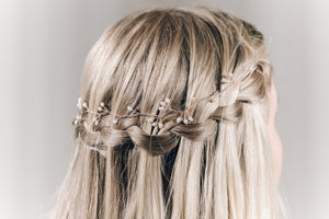 Rose gold freshwater pearl cluster hairvine headband - Celeste