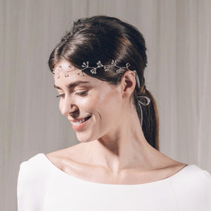Silver crystal cluster wedding hair vine headband - Celeste