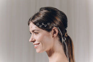 Silver crystal cluster hairvine headband - Celeste