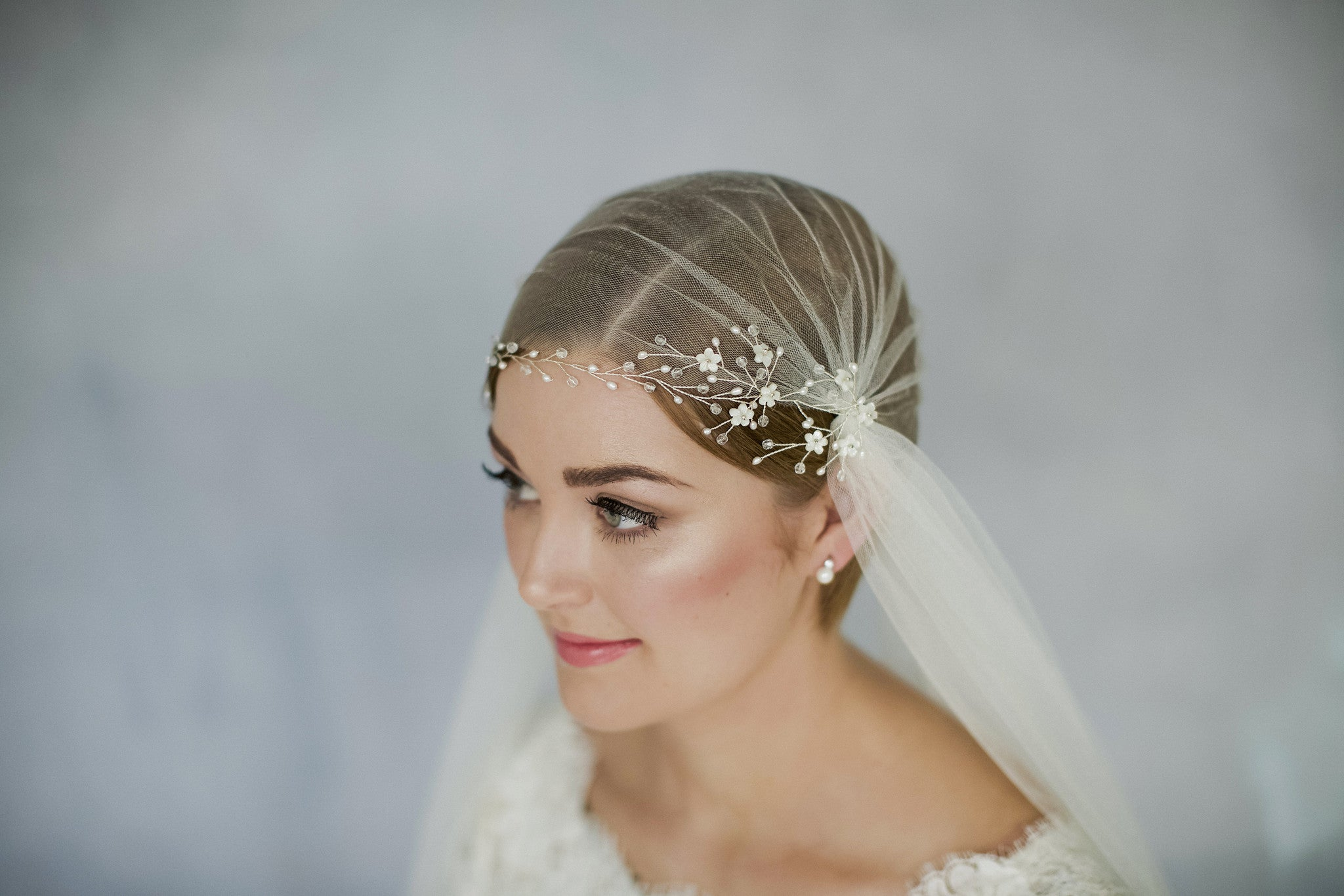 Silky tulle luxurious soft vintage style Juliet cap wedding veil