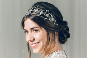 Statement silver Swarovski crystal and pearl crown hairvine - Cressida