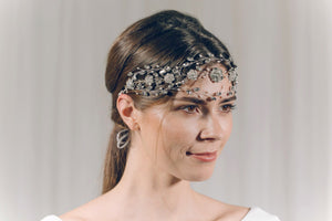 Statement Swarovski crystal and freshwater pearl crown brow band hairvine - Cressida