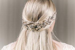 Statement silver Swarovski crystal and freshwater pearl crown hair vine - Cressida