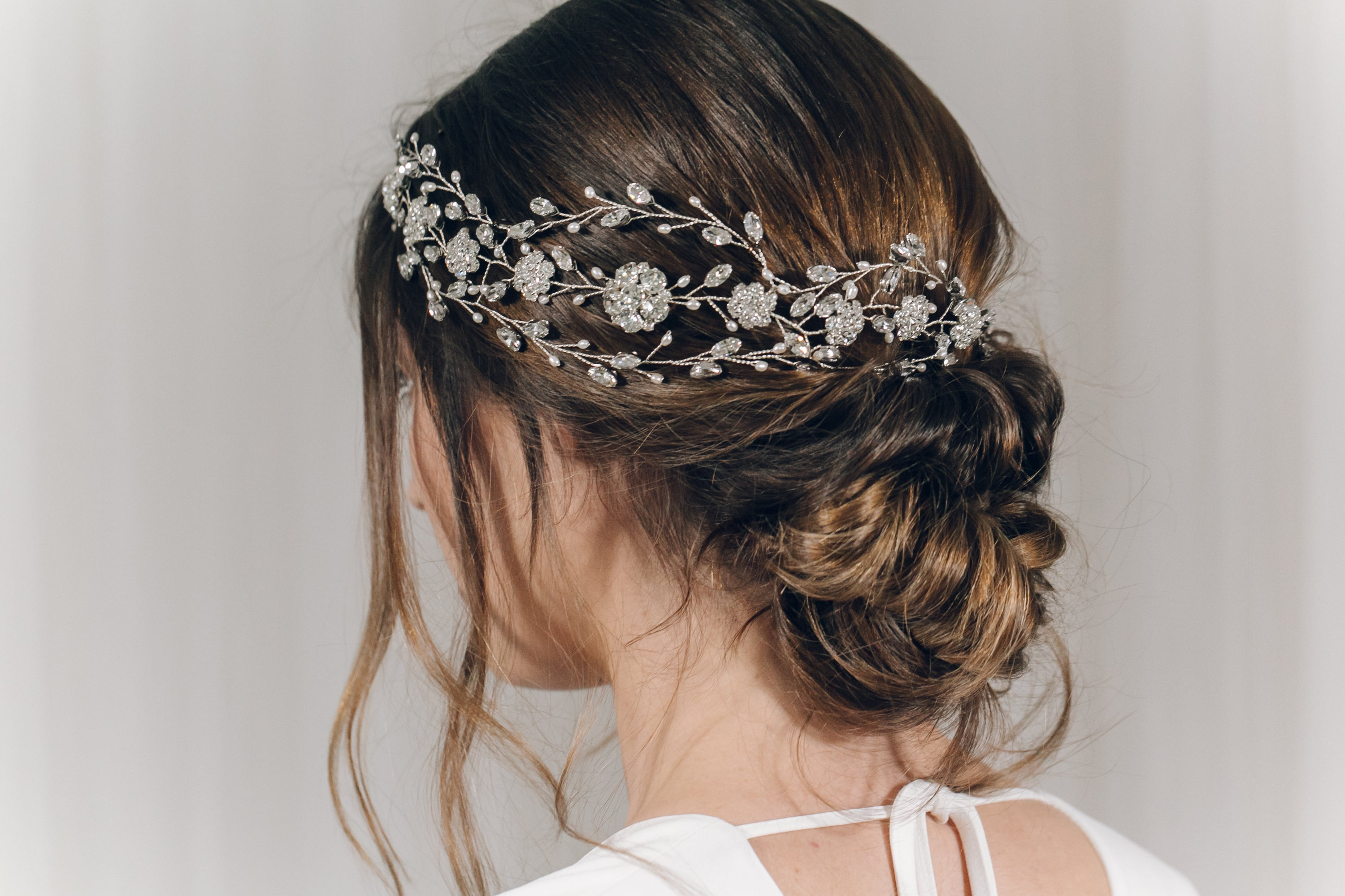 Statement Swarovski crystal and freshwater pearl crown hair vine - Cressida