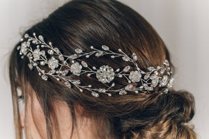 Statement Swarovski crystal and freshwater pearl crown hairvine - Cressida