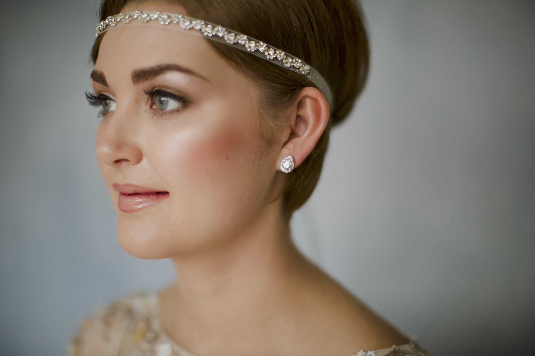Greta crystal bridal ribbon headband