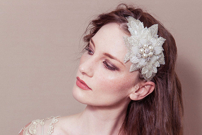 Lily ivory and silver pearl flower ribbon tie wedding headband