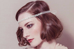 Greta crystal bridal ribbon tie headband