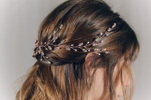 Modern boho Swarovski Crystal rose gold leafy long wedding hair vine - Lily