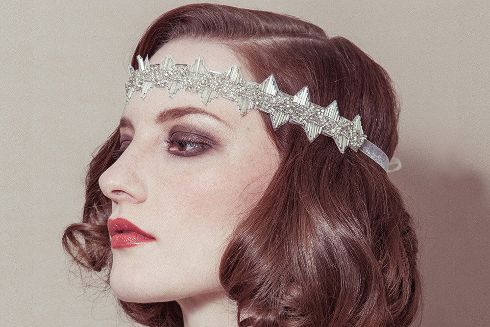 Delores 1920s flapper style wedding headband