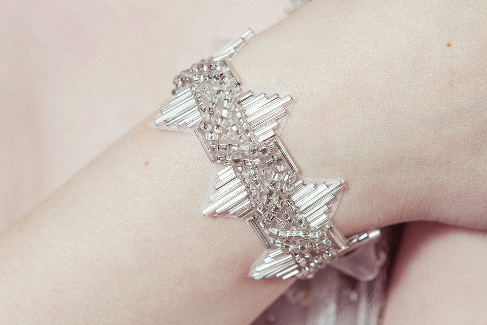 Delores 1920s deco wedding cuff bracelet