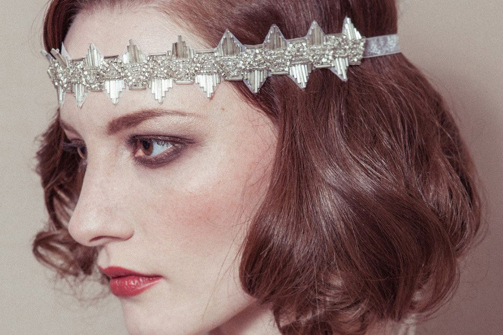 Delores roaring twenties antique silver wedding forehead headband