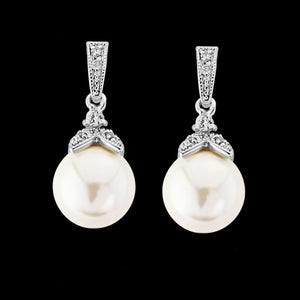Dita crystal pearl droplet earrings - silver