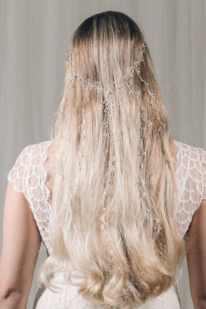 Waterfall hair vine with dangling strands in silver and freshwater pearl  - Elise