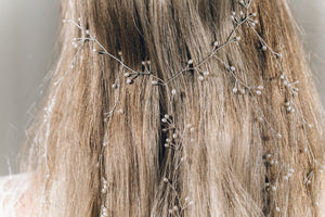 Silver and freshwater pearl veil hairvine with dangling strands - Elise