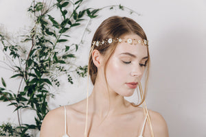 Flower garland pearl and crystal wedding browband headband