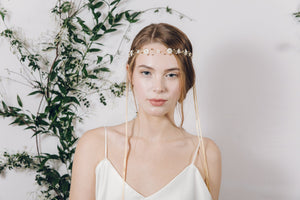 Hippy flower garland mother of pearl wedding headband