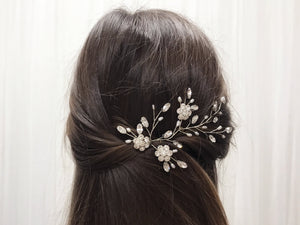 Silver crystal flower and freshwater pearl bridal hair vine - Ella