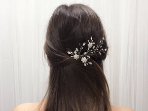 Silver crystal flower and freshwater pearl hair vine - Ella