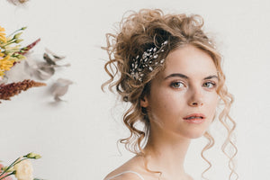 small crystal flower wedding hair vine