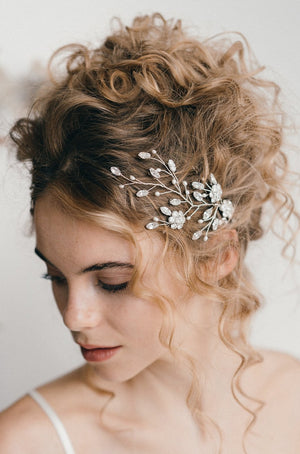 Small updo wedding hair vine