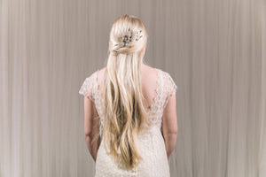 Wedding updo hair vine in silver Swarovski crystal and freshwater pearl - Ella