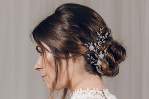 Bridal updo hairvine in silver Swarovski crystal and freshwater pearl - Ella