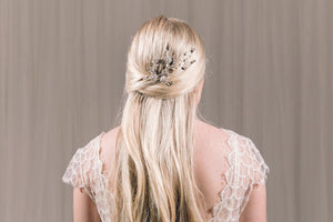 Bridal updo hair vine in silver Swarovski crystal and freshwater pearl - Ella