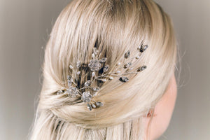 Silver wedding updo hairvine in Swarovski crystal and freshwater pearl - Ella