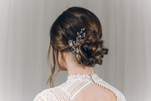 Wedding updo hairvine in silver Swarovski crystal and freshwater pearl - Ella