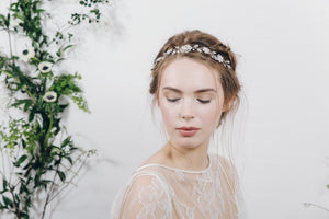 Silver flower bridal ribbon tie headband