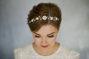 Crystal and pearl bridal browband hair vine - Estelle