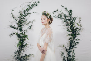 Secret garden gold bridal headband with real flower crown