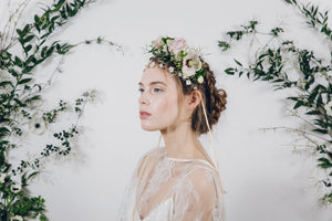 Real flower crown with gold jewellery wedding headband