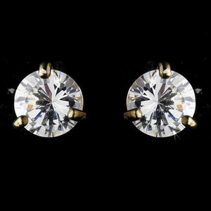 Gold crystal wedding stud earrings with cubic zirconia - Margot