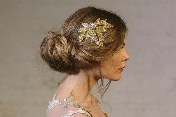 Olivia gold beaded wedding hair comb